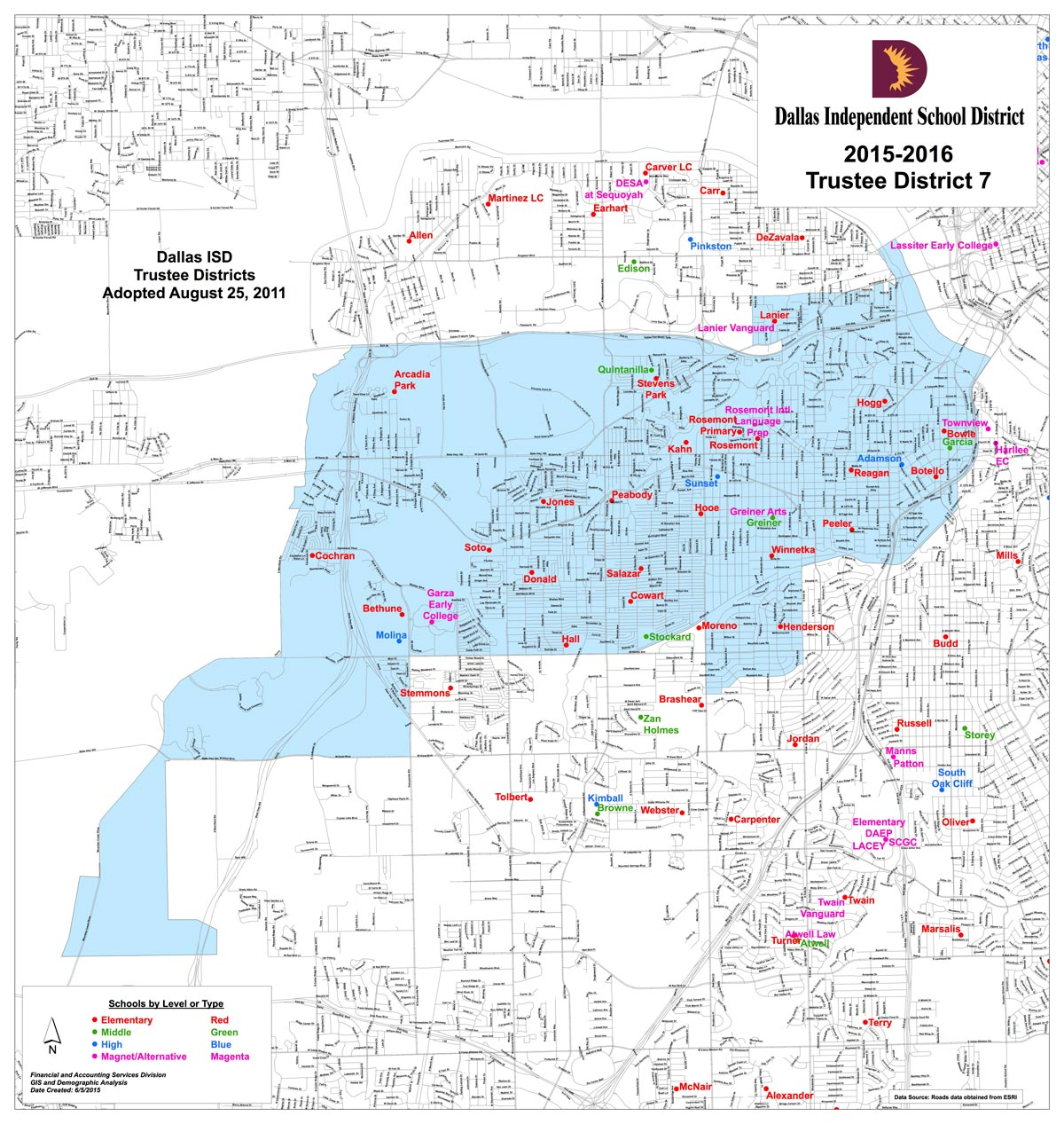 Map of Dallas ISD District 7