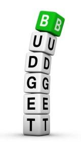 Stack of letter blocks spelling BUDGET
