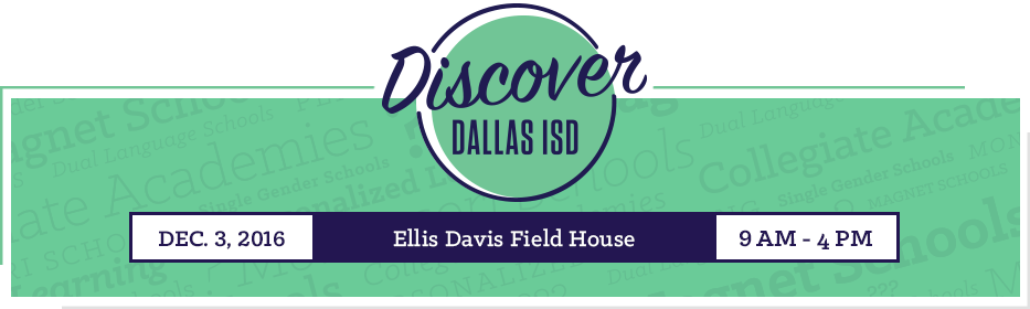 Discover Dallas ISD logo for December 3, 2016 school fair event